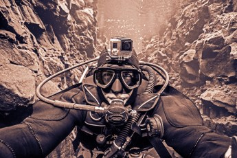 Selfie in the world's clearest water at Silfra. Photo © Jeffrey Gallant | Diving Almanac