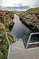 The entry dive stairway at Silfra. Photo © Jeffrey Gallant | Diving Almanac