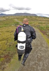 Hiking back to the DIVE.IS van after diving Silfra. Photo © Jeffrey Gallant | Diving Almanac