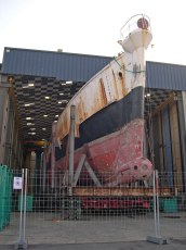 Calypso's during refit in Concarneau in 2007. Photo by Massecot (Creative Commons)