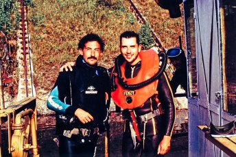 Dr. Liviu Miron and Jeffrey Gallant after a dive in Lake Bicaz, Romania. Photo © Diving Almanac