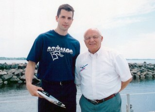 Jeffrey Gallant and Claude Wesley aboard Jacques-Yves Cousteau's Alcyone in 1999. Photo © Diving Almanac