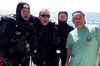 Graham Owen and crew aboard the MV Legend after a record dive in the Red Sea. Photo © MV Legend