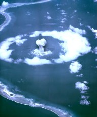 """The atomic cloud during the """"Able"""" nuclear test at Bikini Atoll. Photo by the United States Department of Energy (Public Domain)"""