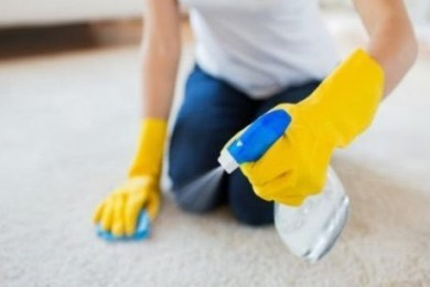 How do you get water out of a carpet without a wet vacuum?