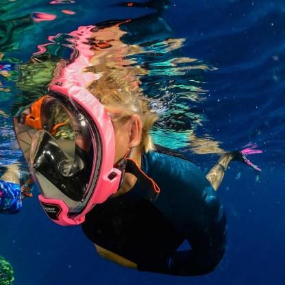 Mască facială snorkeling Ocean Reef Aria QR+, roz