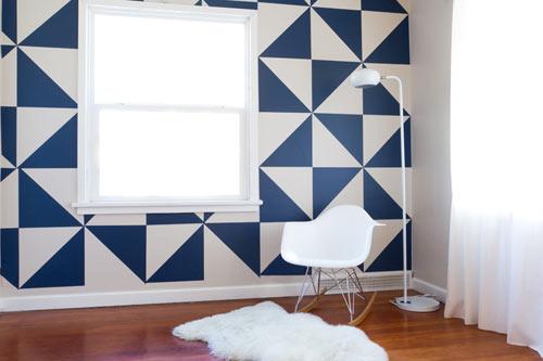 triángulos para decorar la pared con vinilo