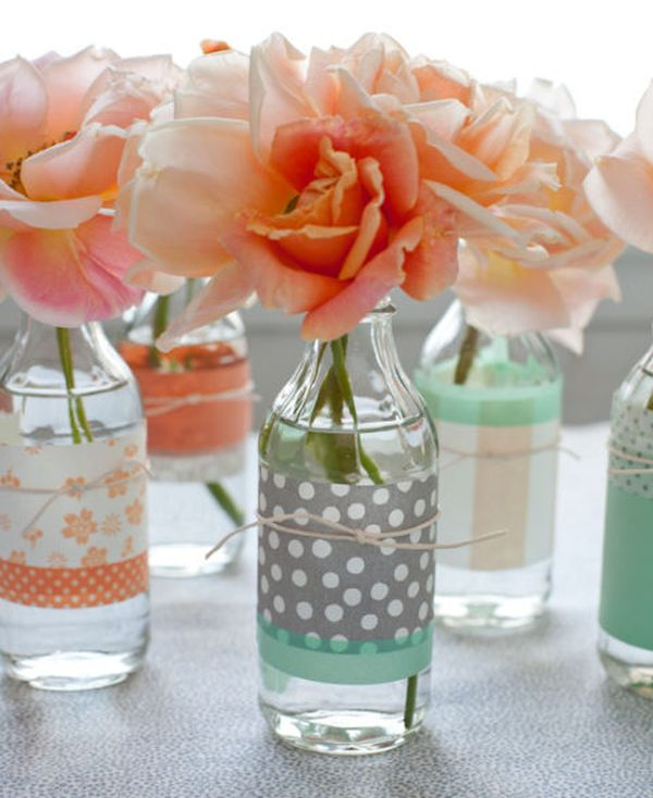 reciclar con washi tape botellas de vidrio