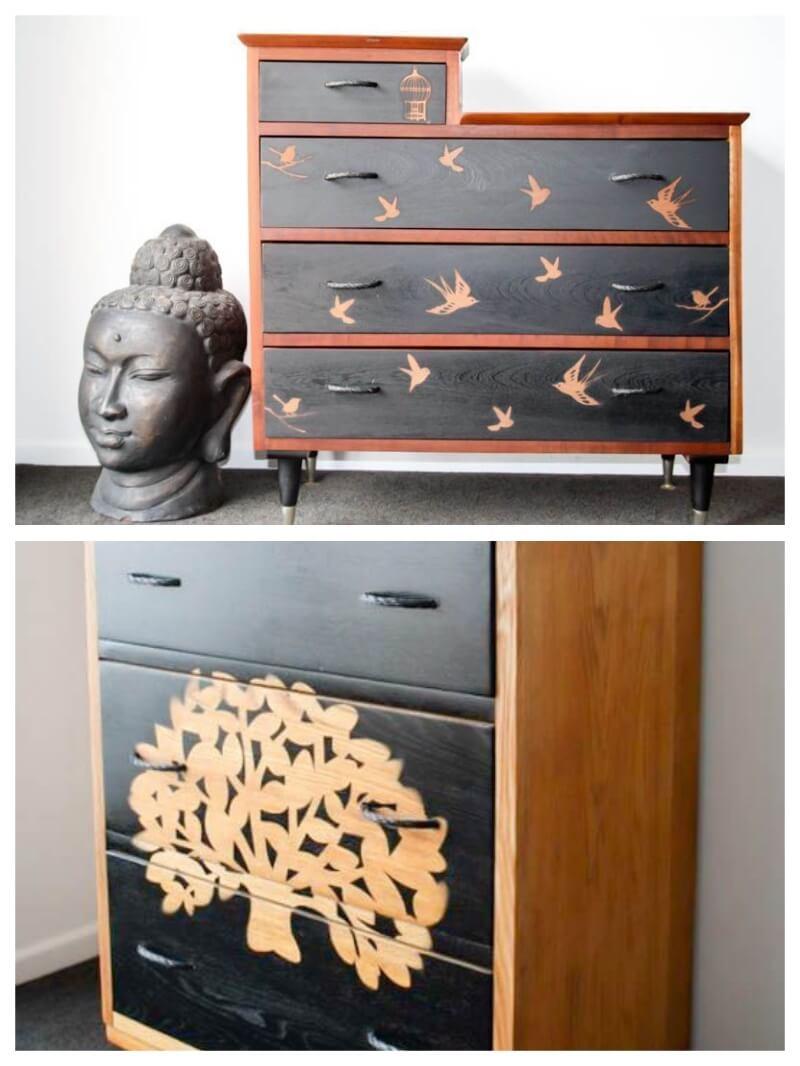 plantillas de vinilo adhesivo para decorar muebles pintados con chalk paint