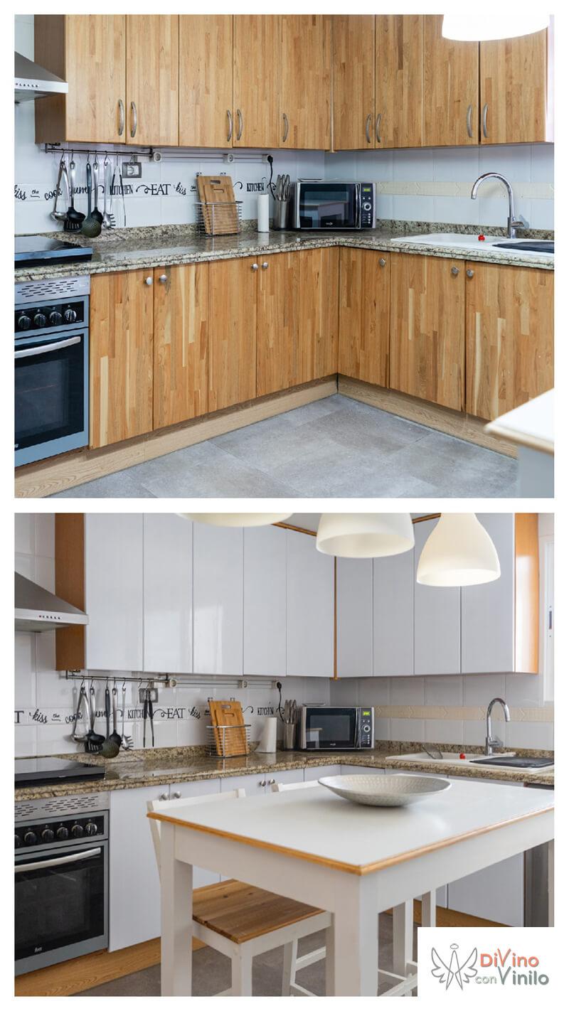 antes y después de forrar con vinilo los armarios de cocina