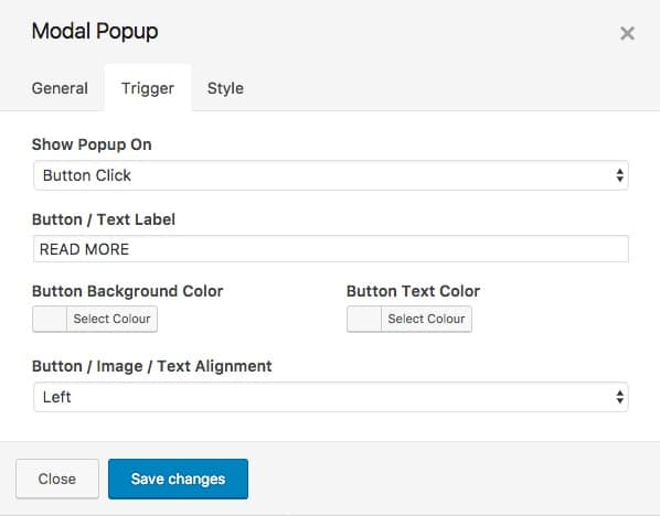 SiteOrigin Widgets Modal Popup Settings
