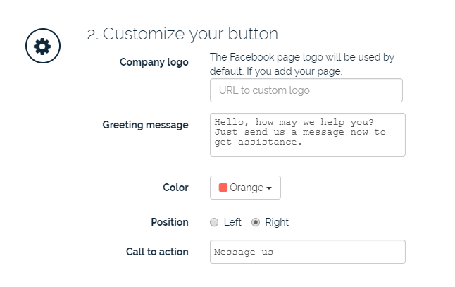 "Screen shot of ""Customize the button"" section on whatshelp.io"