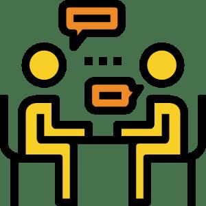 Ilustração de duas pessoas pessoas sentadas em uma mesa conversando
