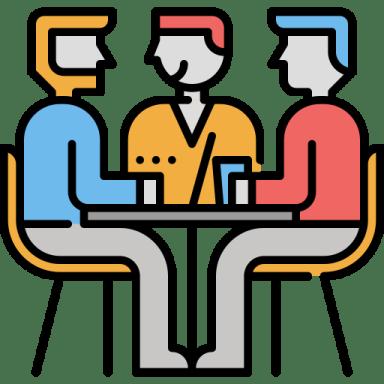 Ilustração de três pessoas sentadas em volta de uma mesa