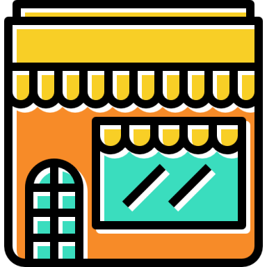 ilustração de um imóvel comercial, com a porta de entrada e vitrine sobrepostas por um toldo