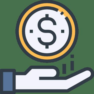 Desenho de uma moeda e abaixo dela uma mão