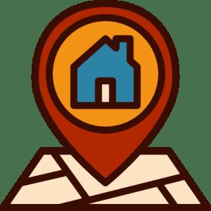 ìcone de um mapa destacando um marcador de localização