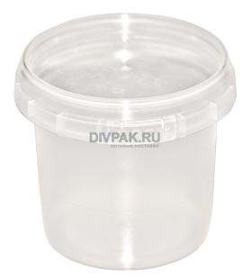 Ведро пищевое 0.9л круглое прозрачное