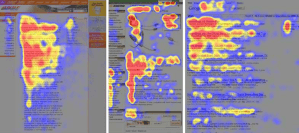 Heatmap for a web design showing how readers scan websites