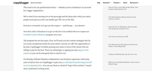 Screenshot of copyblogger.com using a width constraint in their blog article content.
