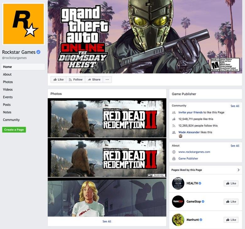 A screenshot showing card design at Facebook pages on facebook.com.