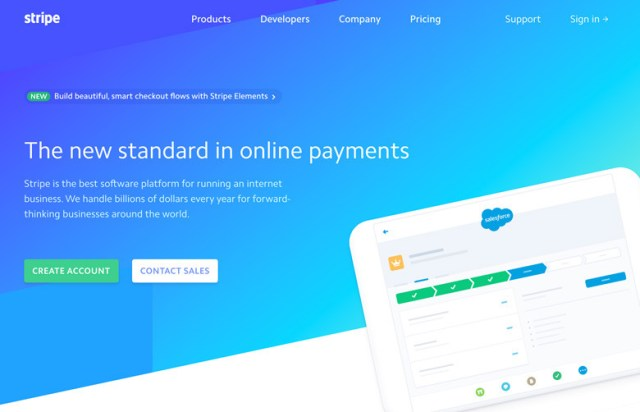 A screenshot of stripe.com's landing page.