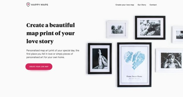 Screenshot of thehappyprints.com using flat design on their website.