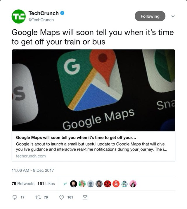 A screenshot of a tweet using card design on twitter.com.
