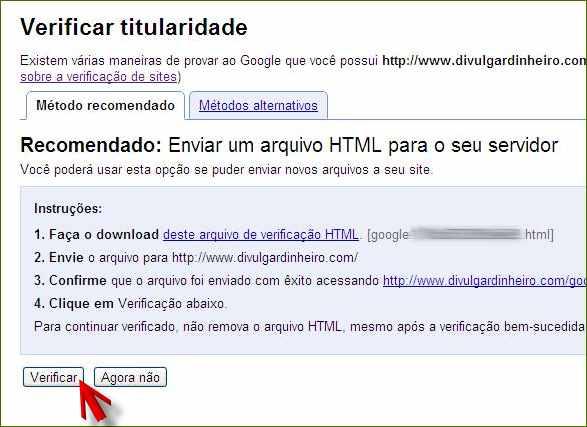 google webmasters tools ferramentas verificação titularidade