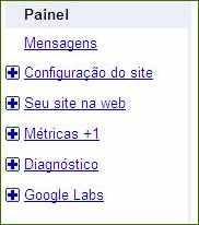 ferramentas google webmasters tools menu principal