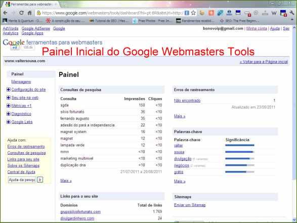 google webmasters tools ferramentas painel inicial