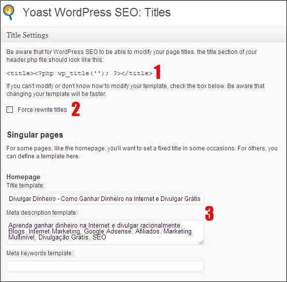plugin wordpress seo yoast otimização título descrição homepage