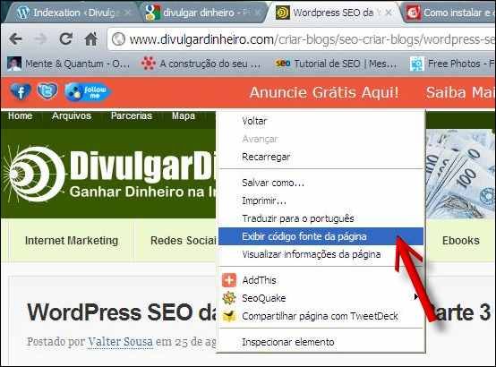 código fonte wordpress seo googlebot