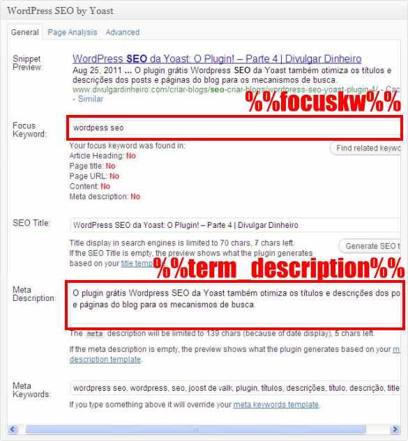 focus keyword description descricao wordpress seo yoast