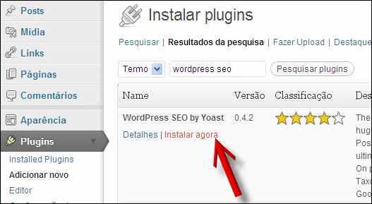 iniciar instalação plugin wordpress seo