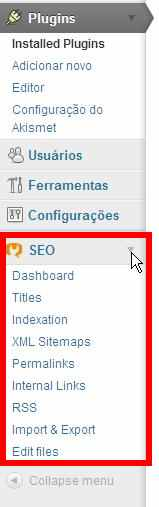 menu esquerdo plugin wordpress seo yoast
