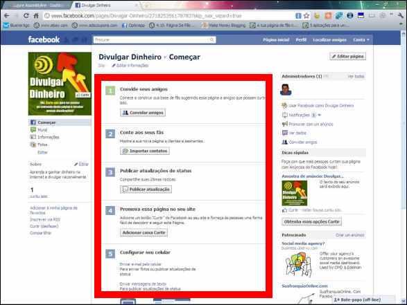 fan page fas pagina fa facebook divulgar