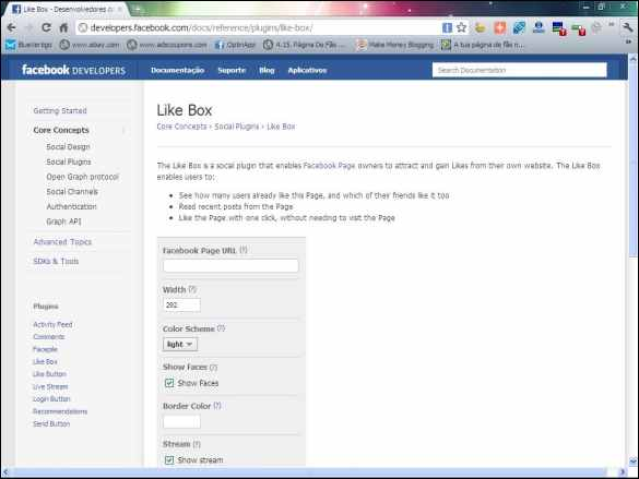 fan page fas pagina fa facebook like box desenvolvedores