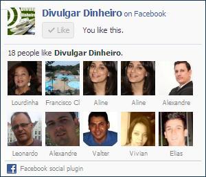 fan page facebook página fãs caixa curtir like box