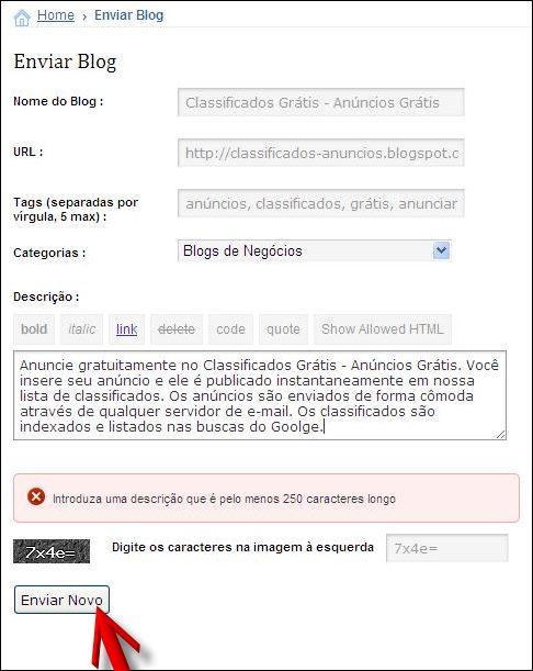 formulário inserir blog divulgar blogs