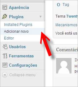 submenu adicionar plugin wordpress