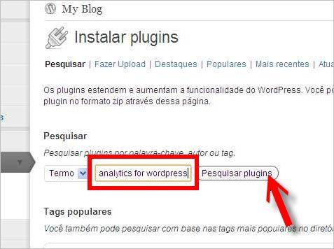 pesquisar plugin wordpress