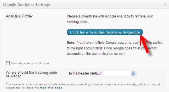 botão autenticar google analytics wordpress