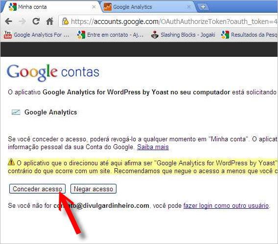 janela google conceder acesso google analytics