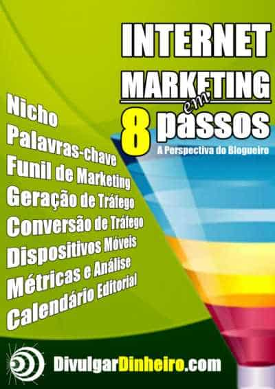 A capa do ebook Internet Marketing em 8 Passos foi construída no Photoimpact.