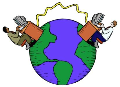 A Era da Informação. Planeta terra. Internautas conectados. Mundo de conexões e computadores. Verde e roxo.