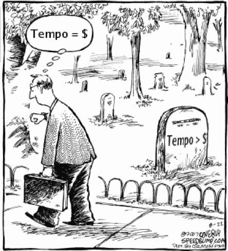 Tempo vale mais do que dinheiro. Homem de maleta olhando o relógio e túmulo no cemitério.