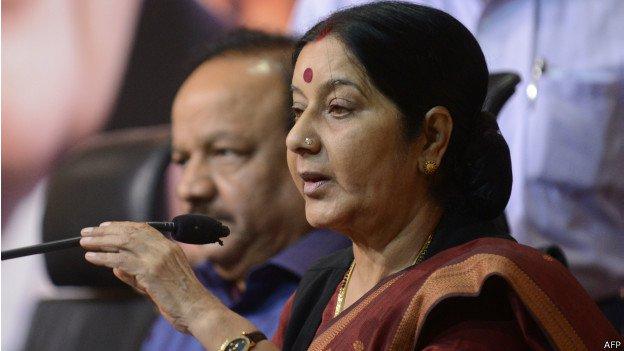 भारतीय विदेशमन्त्री स्वराजद्वारा प्रकाशको निधनप्रति दुःख व्यक्त