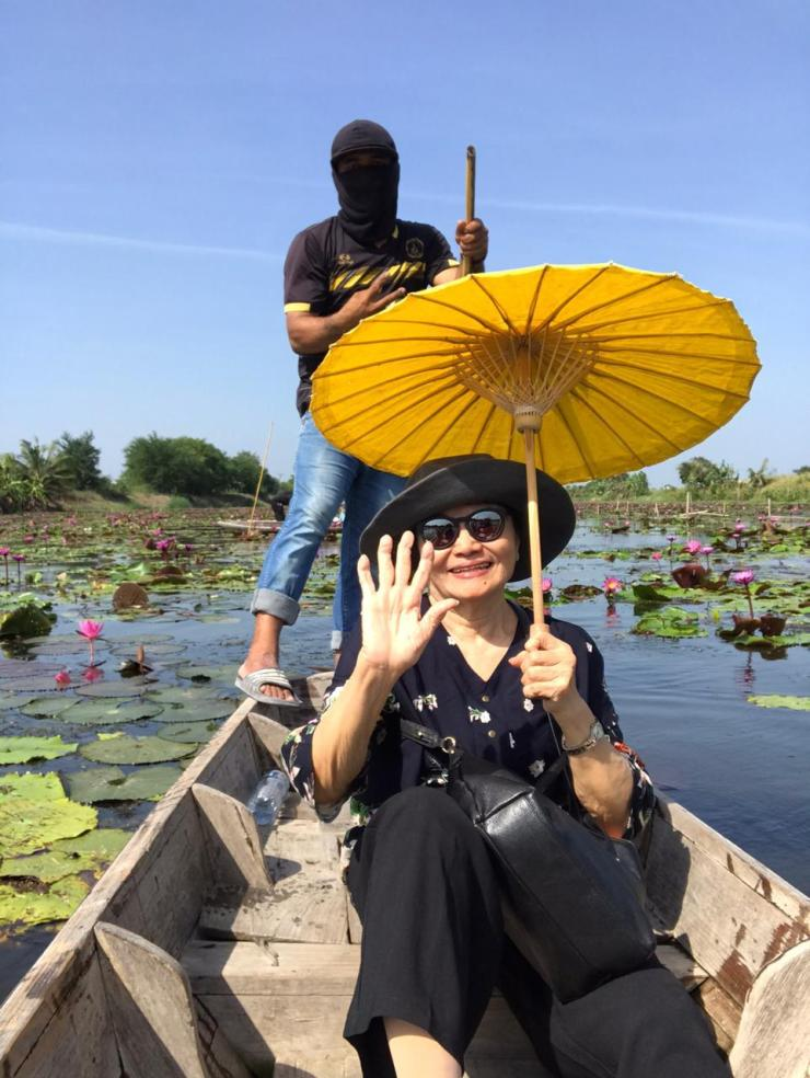 Ama in a pond full of lotus