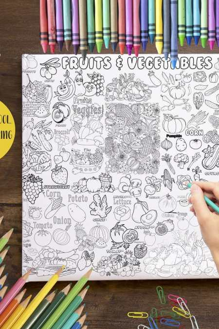 Animal & Vegatables Coloring Poster GCP-007 (200x90)